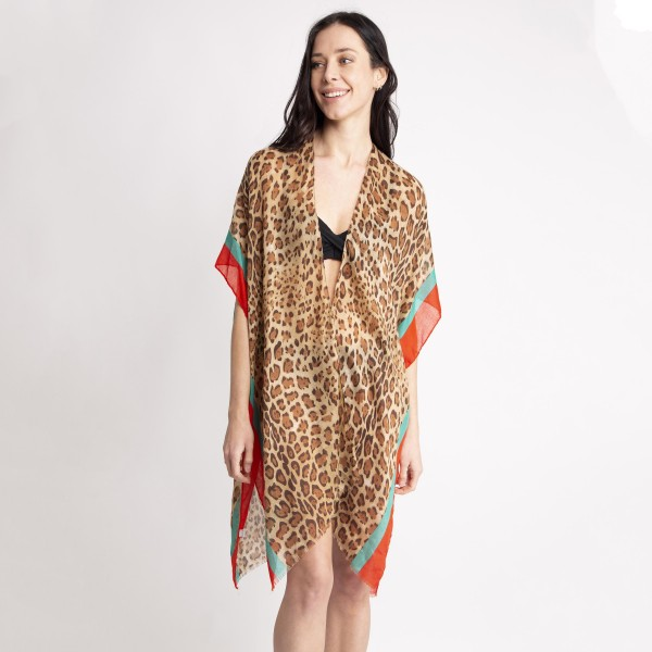 "Women's Lightweight Leopard Print Color Stripe Kimono.  - One size fits most 0-14 - Approximately 35"" L - 80% Viscose / 20% Cotton"