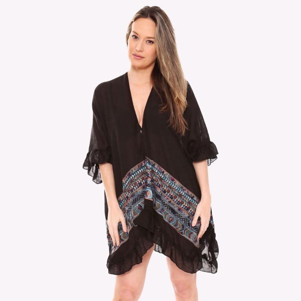 "Women's lightweight ethnic stitch short ruffle kimono.  - One size fits most 0-14 - Approximately 30"" L  - 100% Viscose"