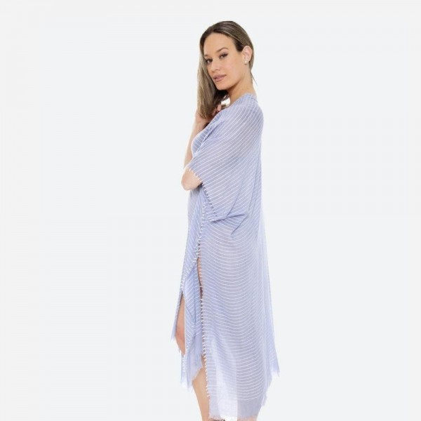 "Women's Lightweight Pinstripe Kimono.  - One size fits most 0-14 - Approximately 39"" L - 100% Polyester"