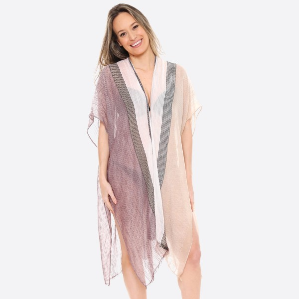 "Women's Lightweight Multi Stripe Kimono.  - One size fits most 0-14 - Approximately 37"" L - 100% Polyester"
