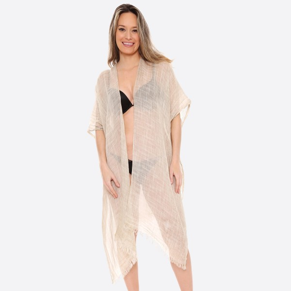 "Women's Lightweight Sheer Glitter Kimono.  - One size fits most 0-14 - Approximately 37"" L - 100% Viscose"