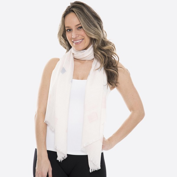 "Women's lightweight brushed square scarf with frayed edges.  - Approximately 27"" W x 72"" L - 100% Viscose"