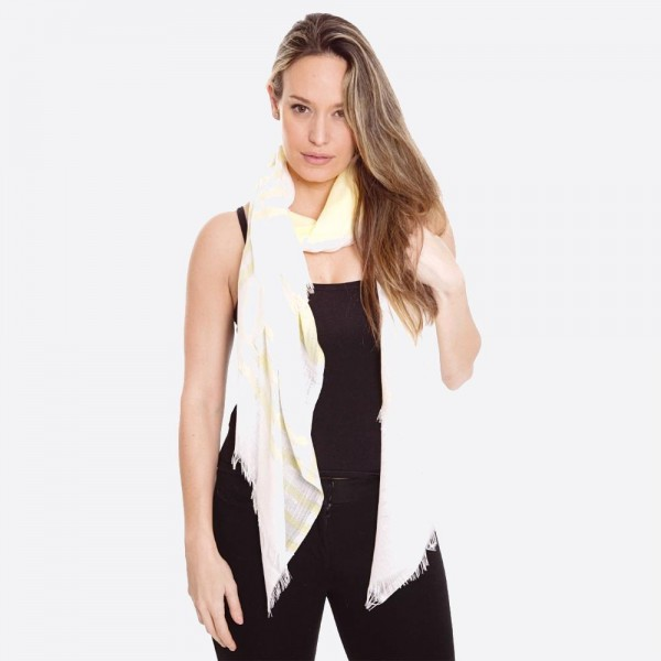"Women's lightweight sheer metallic stripe fringe scarf.  - Approximately 33"" W x 72"" L - 100% Viscose"