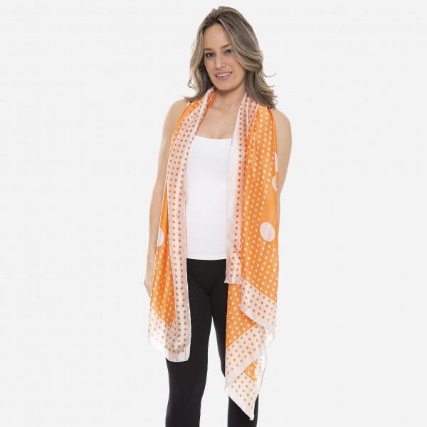 "Women's lightweight silky polka dot print scarf.  - Approximately 35"" W x 70"" L - 80% Viscose, 20% Silk"