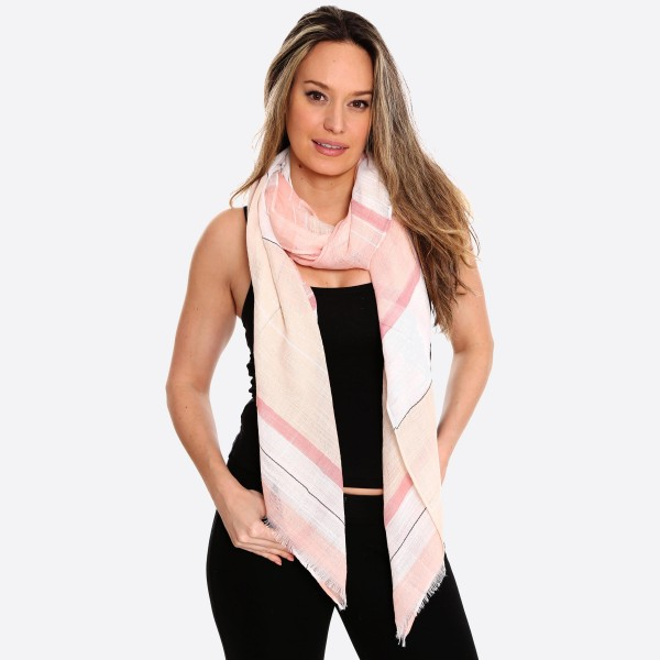 "Women's Lightweight Multi Stripe Scarf.  - Approximately 37"" W x 70"" L - 100% Polyester"