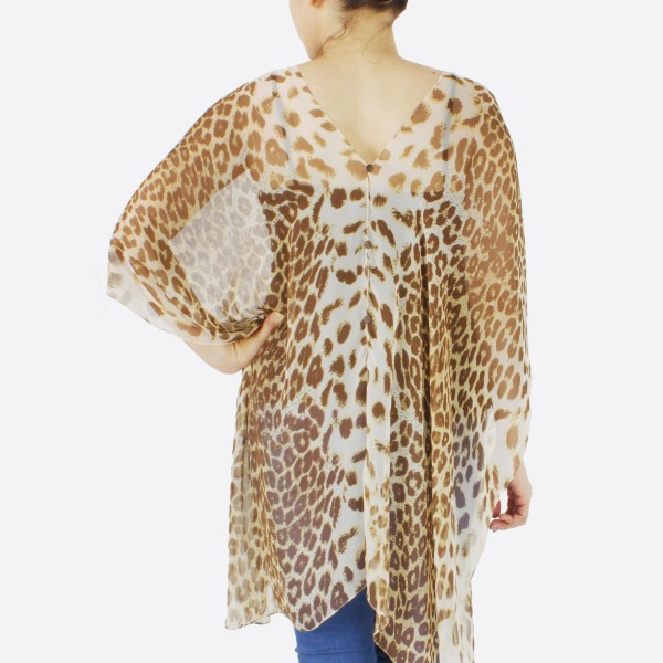 "Women's Lightweight Sheer Leopard Print Button Down Cover Up Top.  - Front and back button down  - One size fits most 0-14 - Approximately 30"" L - 100% Polyester"
