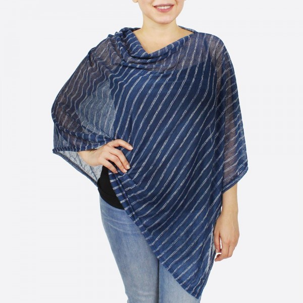 Wholesale women s Lightweight Sheer Stripe Poncho One fits most L Polyester