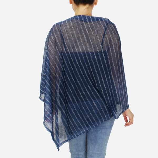 "Women's Lightweight Sheer Stripe Poncho.  - One size fits most 0-14 - Approximately 30"" L - 100% Polyester"
