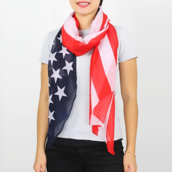 "Women's Lightweight USA Flag Scarf.  - Approximately 35"" W x 74"" L  - 100% Polyester"
