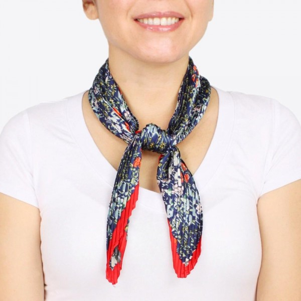 """Women's pleated floral neckerchief.  - Approximately 18"""" W x 40"""" L - 100% Polyester"""