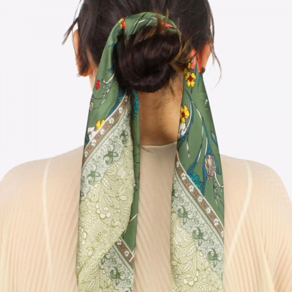 """Women's lightweight silk floral bandana scarf.  - Approximately 27.5"""" W x 28"""" L - 100% Polyester"""