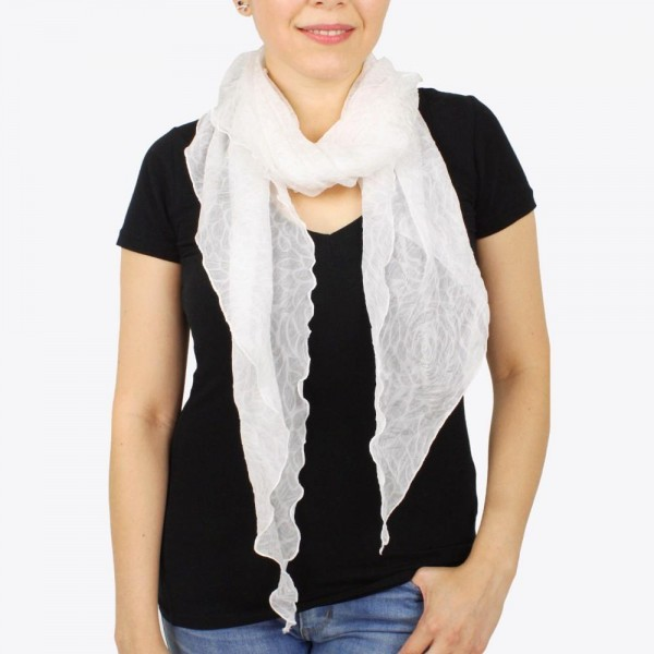 "Women's lightweight sheer rose bias cut scarf.  - Approximately 30"" W x 76"" L - 100% Polyester"