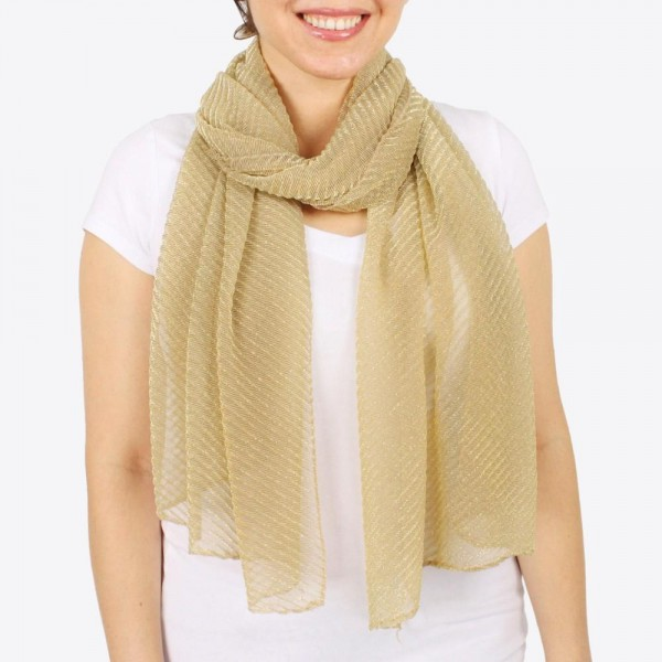 "Women's lightweight pleated lurex scarf.  - Approximately 28"" W x 70"" L - 100% Polyester"