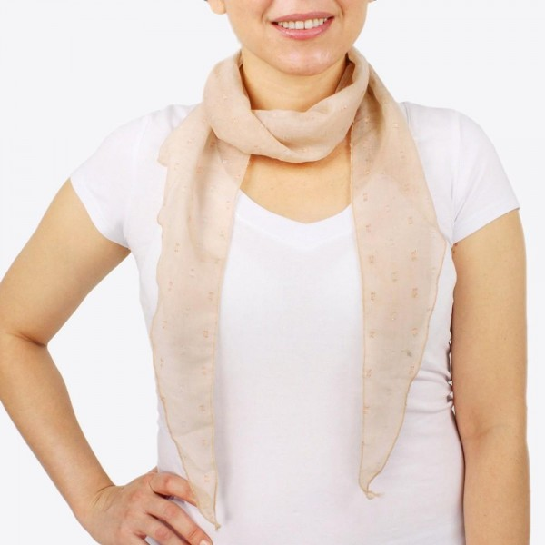 "Women's lightweight sheer glitter bias cut scarf.  - Approximately 10"" W x 60"" L - 100% Polyester"