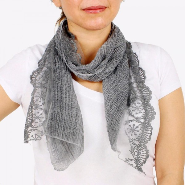 """Women's lightweight lace trim scarf.  - Approximately 13"""" W x 60"""" L - 100% Polyester"""