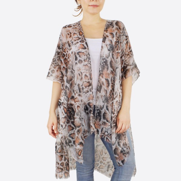 "Women's Lightweight Snakeskin Kimono.  - One size fits most 0-14 - Approximately 37"" L - 100% Polyester"