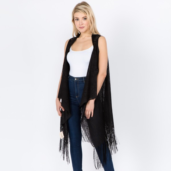 """Women's lightweight lace vest kimono with fringe tassels.  - One size fits most 0-14 - Approximately 41"""" L - 100% Polyester"""