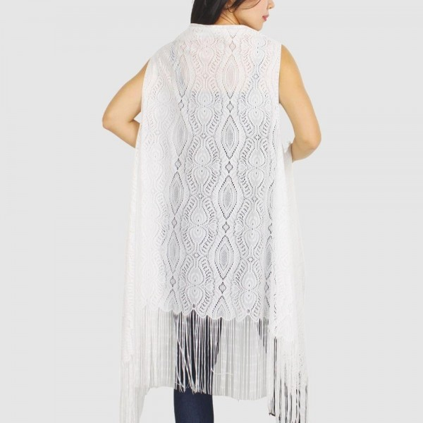 "Women's Lightweight Fringe Tassel Lace Vest.  - One size fits most 0-14 - Approximately 41"" L - 100% Polyester"
