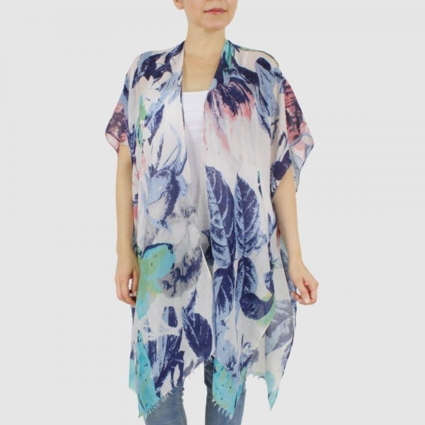 "Women's Lightweight Blue Floral Brushed Kimono.  - One size fits most 0-14 - Approximately 37"" L - 100% Polyester"