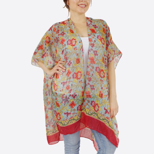 "Women's Short Lightweight Oriental Floral Print Kimono.  - One size fits most 0-14 - Approximately 37"" L - 100% Polyester"