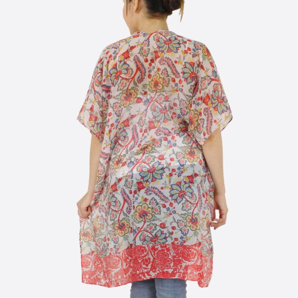 """Women's lightweight oriental flower kimono.  - One size fits most 0-14 - Approximately 37"""" L - 100% Polyester"""