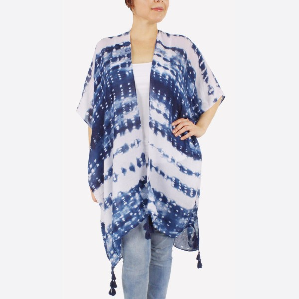 "Women's lightweight navy blue tie-dye kimono with tassel accents.  - One size fits most 0-14 - Approximately 37"" L - 100% Polyester"