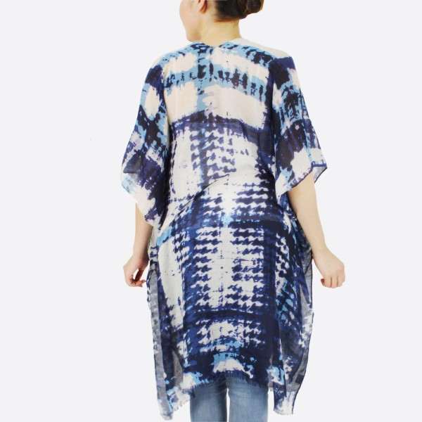 "Women's lightweight navy blue brushed tie-dye kimono.  - One size fits most 0-14 - Approximately 36"" L - 100% Polyester"