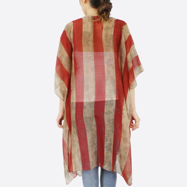 """Women's lightweight vintage American Flag kimono.  - One size fits most 0-14 - Approximately 37"""" L - 100% Polyester"""