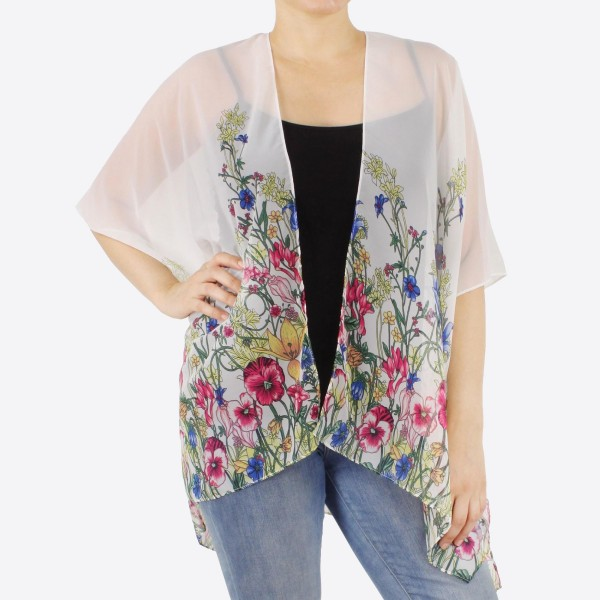 "Women's lightweight floral kimono.  - One size fits most 0-14 - Approximately 26"" L - 100% Polyester"
