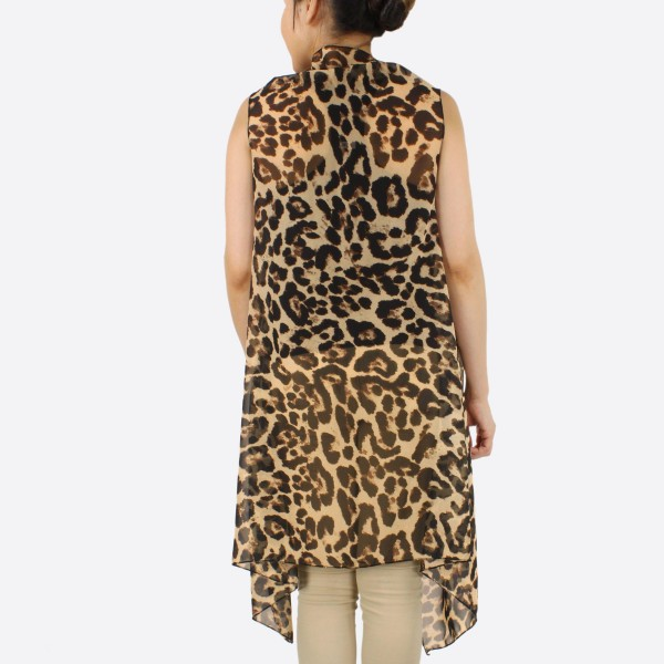 "Women's Lightweight Sheer Leopard Print Vest Kimono.  - One size fits most 0-14 - Approximately 37"" L - 100% Polyester"