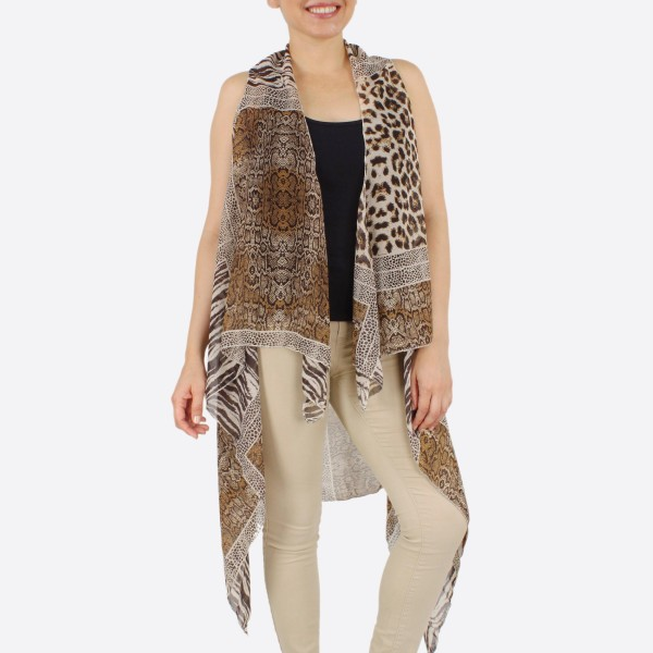 "Women's Lightweight Multi Animal Print Patch Vest.  - One size fits most 0-14 - Approximately 37"" L in back and 44"" L in front  - 100% Polyester"