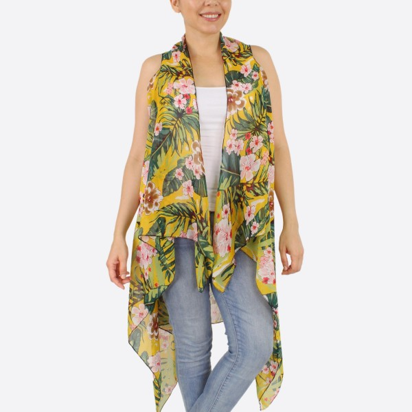 """Women's lightweight tropical kimono vest.  - One size fits most 0-14 - Approximately 37"""" L - 100% Polyester"""