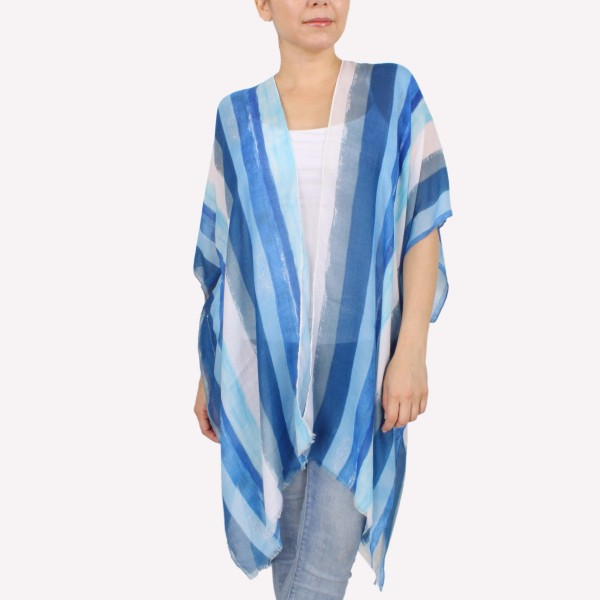 "Women's Lightweight Distressed Stripe Kimono.  - One size fits most 0-14 - Approximately 37"" L - 100% Polyester"