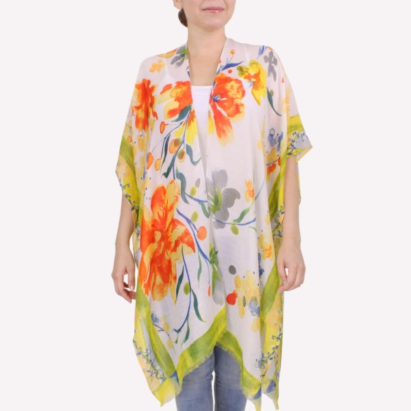 "Women's Short Lightweight Sheer Floral Print Kimono.  - One size fits most 0-14 - Approximately 26"" L - 100% Polyester"