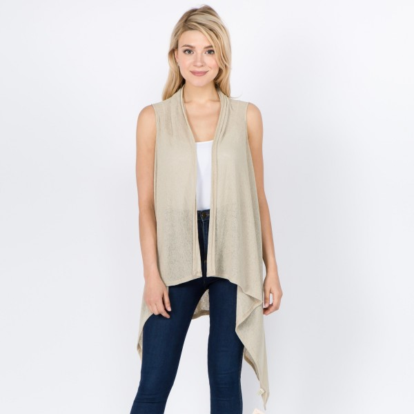 """Women's lightweight solid vest kimono.  - One size fits most 0-14 - Approximately 37"""" L in back and 44"""" L in front - 100% Polyester"""