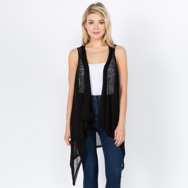 """Women's Lightweight Vest.  - One size fits most 0-14 - Approximately 37"""" L in back and 44"""" L in front - 100% Polyester"""