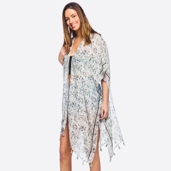 Wholesale women s lightweight soft floral tassel kimono One fits most L Polyeste