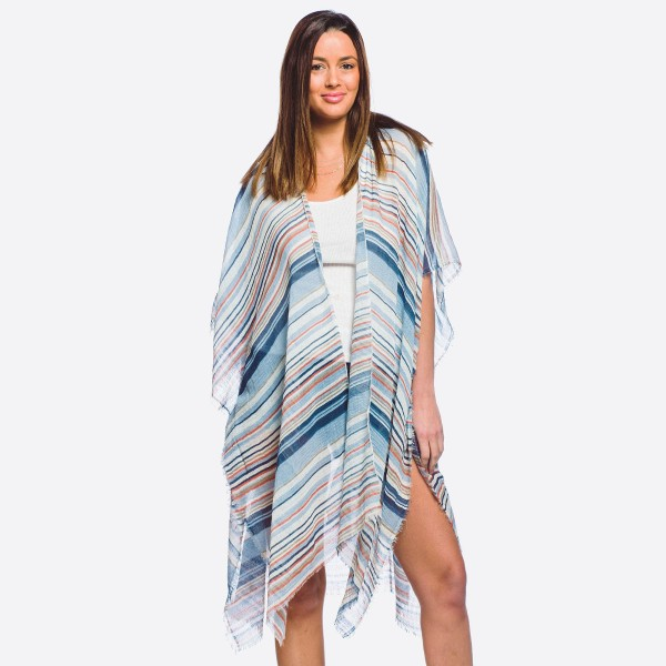Wholesale women s lightweight striped kimono frayed edges One fits most L Polyes