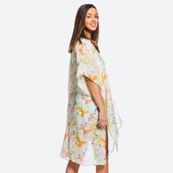 "Women's Lightweight Cactus Print Kimono.  - One size fits most 0-14 - Approximately 37"" L - 100% Polyester"