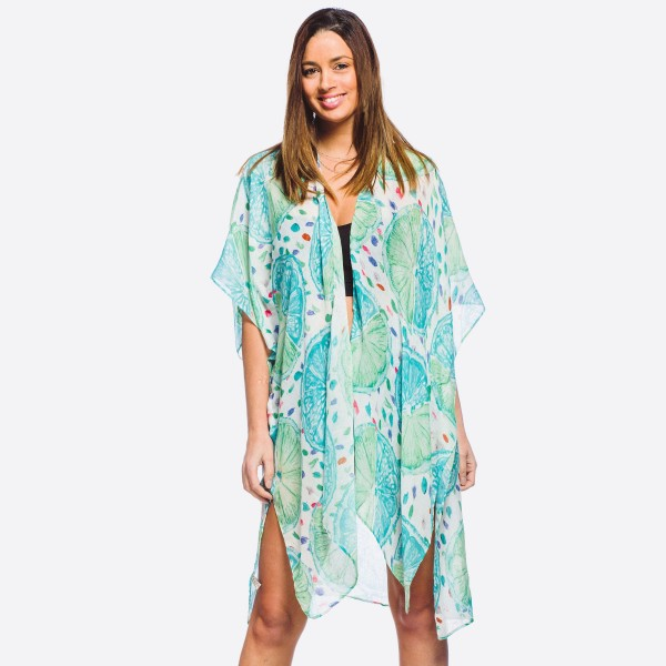 "Women's lightweight lemon squeeze print kimono.  - One size fits most 0-14 - Approximately 37"" L - 100% Polyester"