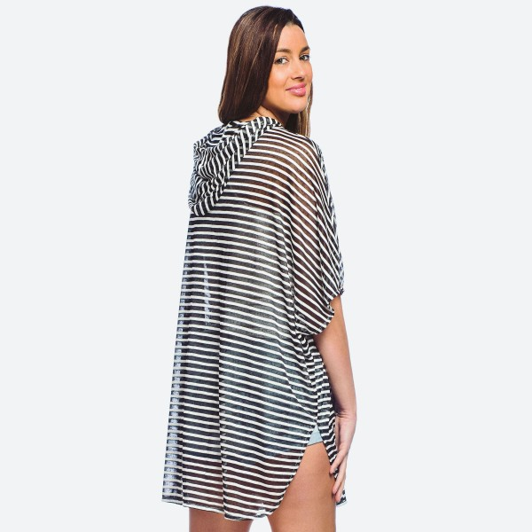 "Women's lightweight sheer striped hooded cover up top with front pocket details.  - 2 functional front pockets - One size fits most 0-14 - Approximately 28"" L - 65% Rayon, 35% Polyester"