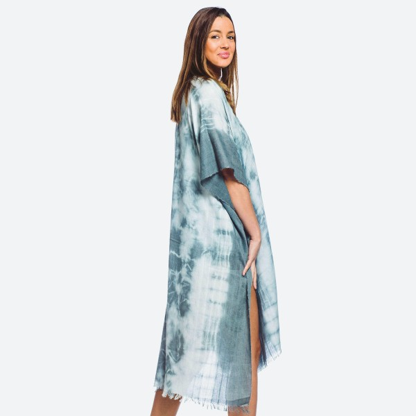 """Women's Lightweight Maxi Tie-Dye Kimono.  - One size fits most 0-14 - Approximately 40"""" L - 20% Viscose, 80% Polyester"""