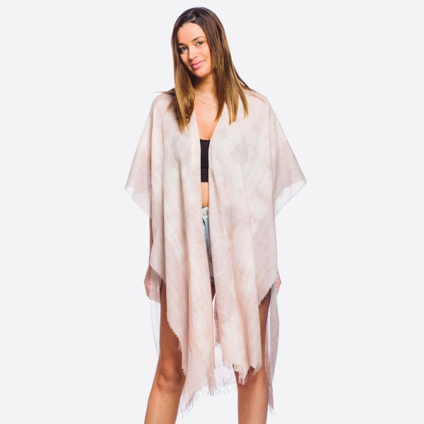 "Women's lightweight tie-dye maxi kimono with fringes.  - One size fits most 0-14 - Approximately 40"" L - 20% Viscose, 80% Polyester"