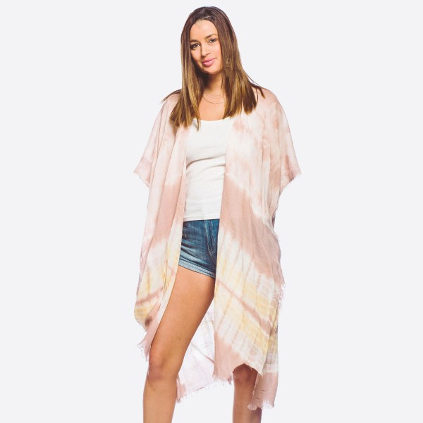 "Women's lightweight tie-dye maxi kimono with fringes.  - One size fits most 0-14 - Approximately 40"" L - 100% Viscose"