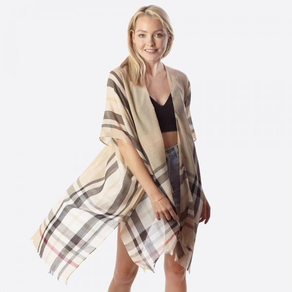 """Women's Lightweight Sheer Plaid Print Kimono.  - One size fits most 0-14 - Approximately 40"""" L - 100% Polyester"""