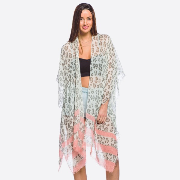 "Women's lightweight sheer leopard print striped kimono.  - One size fits most 0-14 - Approximately 37"" L - 100% Polyester"
