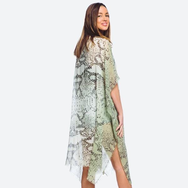 "Women's lightweight snakeskin kimono.  - One size fits most 0-14 - Approximately 37"" L  - 100% Polyester"