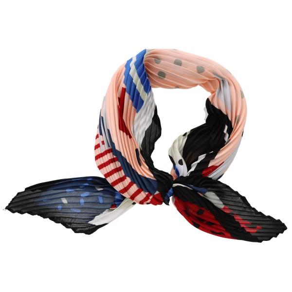 "Women's lightweight pleated geometric polka dot neckerchief.  - Approximately 27"" x 27""  - 100% Polyester"