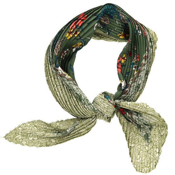 """Women's lightweight pleated floral print neckerchief.  - Approximately 27"""" x 27""""  - 100% Polyester"""
