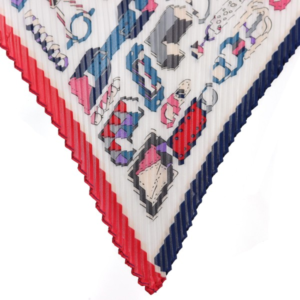 "Women's lightweight pleated designer inspired print neckerchief.  - Approximately 27"" x 27""  - 100% Polyester"